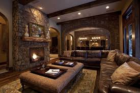 Stunning Design Of The Rustic Living Room Ideas With L Shape Black Leather Sofa Also Brown