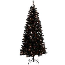F11 7ft Pre Lit Black Christmas Tree