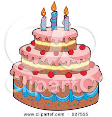 Clipart Four Tiered Colorful Birthday Cake With Candles And 23Ljzi Clipart