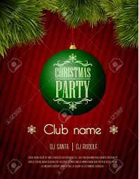 Christmas Tree Name Baubles by Christmas Party Flyer Template Green Bauble On A Red Background