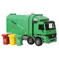 100 Toy Trash Truck Bruder S Green SideLoading Garbage Car With 3 Refuse