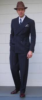 Vintage Chalkstripe Double Breasted Mens Suit This Is SO Russian Mafia We Need Pinstripe Suits