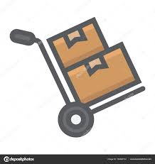 Hand Truck With Cardboard Boxes Filled Outline Icon, Logistic And ...