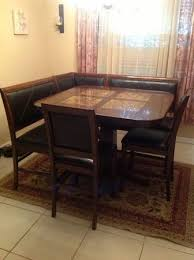 Gorgeous 7 Seat Bar Height Dining Room Table With Marble Inlay Top Has Two Benches