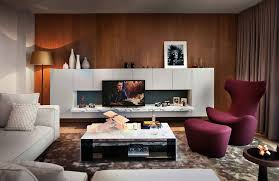 dim living room lighting combined with modern purple and white