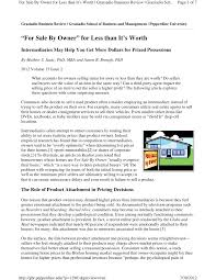 PDF) For Sale By Owner For Less Than It Is Worth: Intermediaries May ...