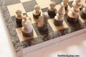 Rustic Chess Set Log Wooden Board Handmade