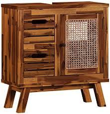 woodkings waschbeckenunterschrank surabaya holz akazie rattan waschtischunterschrank massiv badmöbel badezimmer badezimmerschrank badschrank bad