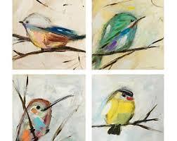 4 Bird Art Print Set By Sallie Otenasek 6 X 6inches Each Woodscape