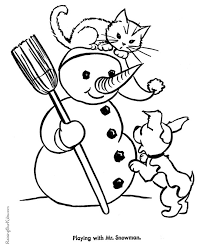 Free Printable Cute Kitten Coloring Christmas PagesCute