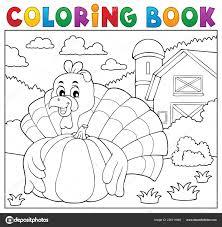 Coloriage Oiseau Turquie Livre Citrouille Illustration Vectorielle