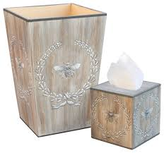 Allen G Designs Napoleonic Bee Wastebasket and Tissue Box Set