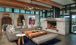 Marvelous Family Room Decoration With Concrete Floors Also Fireplace In Rustic Interior Design