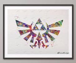 triforce l diy diy aquarelle originale légende de triforce toile peinture