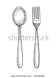 spoon and fork drawing vector illustration