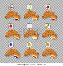 Set Croissant And Half A With Different Fillings Inside Isolated Vector On Transparent Background