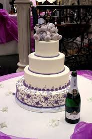Purple And Orchid Theme Wedding Cake