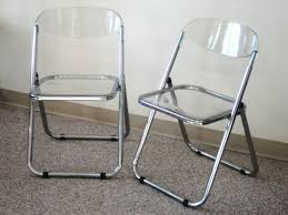 Pair Of Italian Chrome & Lucite Folding Chairs ...
