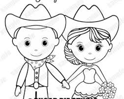 Western Country Cowboy Wedding Coloring Activity Book Printable Personalized Favor Kids 85 X 11 PDF Or