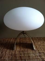 Who Makes Ledu Lamps by Vintage Laurel Mushroom Lamp White Glass Shade Gold Base Mid