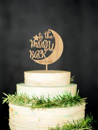 To The Moon And Back Wedding Cake Topper Custom Rustic Personalized