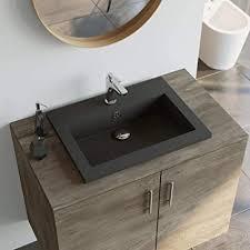 festnight granitbecken bad waschbecken mit überlauf rechteckig waschschale aufsatzwaschbecken badezimmer handwaschbecken schwarz grau weiß