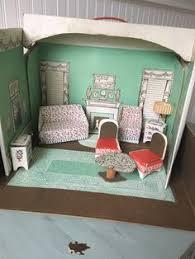 Vintage Antique DollHouse Miniature Furniture Built Rite Cardboard