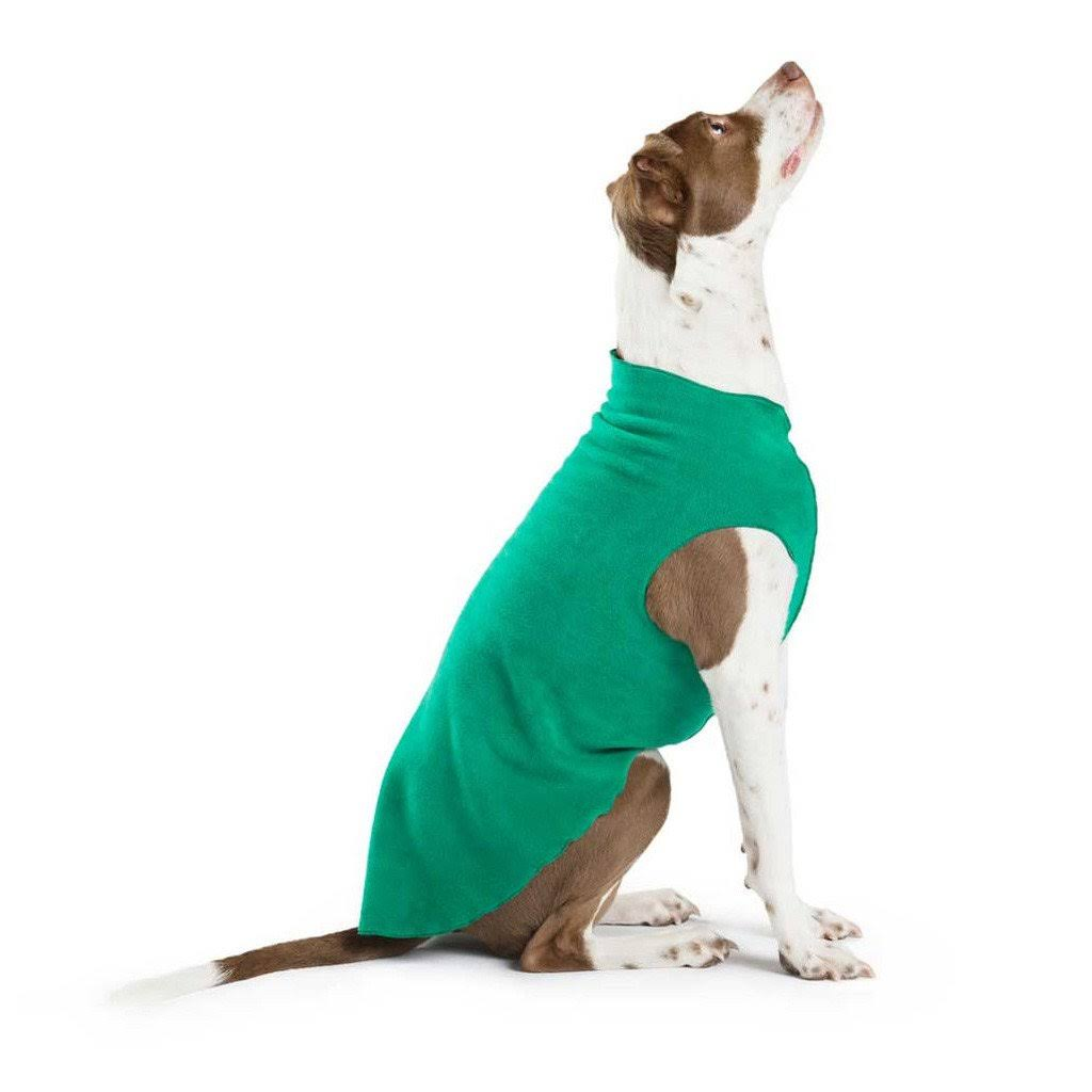 Gold Paw Fleece Dog Jacket - Emerald Green - Size 14