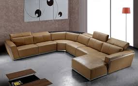 Contemporary Brown Leather Sectional with Retractable Headrests