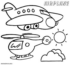Biplane Coloring Sheet Airplane And Helicopter