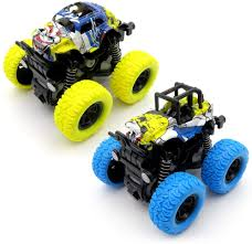 100 Kids Monster Trucks Toys Inertia Car Toys Friction Powered Cars For 2 PackBlue And Yellow