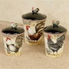 Vintage Rooster Kitchen Canister Set
