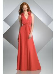 red v neck long chiffon bridesmaid dresses evening dresses wedding