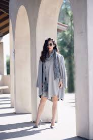 Fall Layers Gray Coat Sweater Dress And Scarf