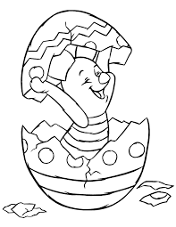 Holiday Piglet Hatching From Easter Egg Coloring Page