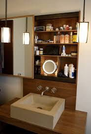 lighted makeup mirrorin bathroom contemporary with