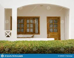 100 Sinai House White Holiday With A Bush With Green Leaves Nearby In