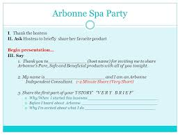 Arbonne Spa Party I Thank The Hostess