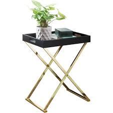 beistelltisch tv tray klappbar 48 x 61 x 34 cm schwarz gold design wohnzimmertisch mit serviertablett kaffeetisch modern tabletttisch holz