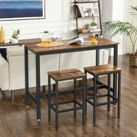 vasagle bartisch set mit 2 barhockern stehtisch 120 x 60 x 90 cm küchentresen mit barstühlen im industrie design vintage dunkelbraun lbt15x