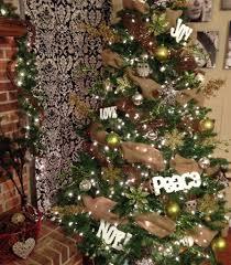 Rustic Christmas Tree Brown Gold Green Burlap