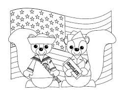 Two Cute Chipmunks In Uniform Celebrating Veterans Day Coloring Page