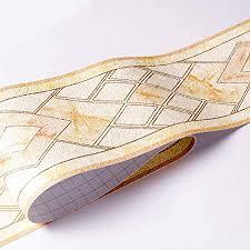 banggo wasserdichte tapetenbordüre abnehmbar 3d muster selbstklebend für küche badezimmer tapete bordüre aufkleber 10 6 x 500 cm gelb