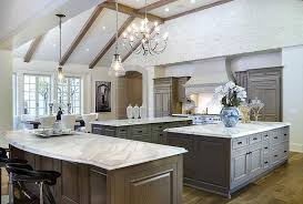kitchen with three islands transitional kitchen