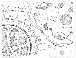 Outer Space Coloring Book Pages Sheets Free Printable Themed Full Size