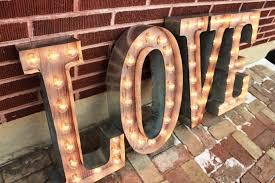 4 custom wedding letters marquee signs rustic industrial