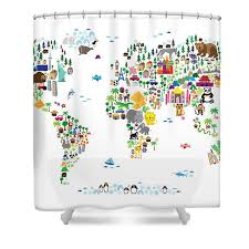 Animal Map The World For Children And Kids Shower Curtain for