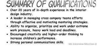 Resume Qualifications Examples Summary Of