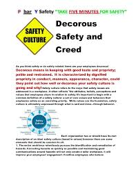 decorous safety and creed