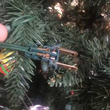 Workplace Christmas Tree Connector Lost The Outer Plastic Shell Found Out After A Shock From Live Wire